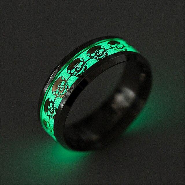 Gold Silver Color Luminous Ring Glow Skulls Titanium Steel