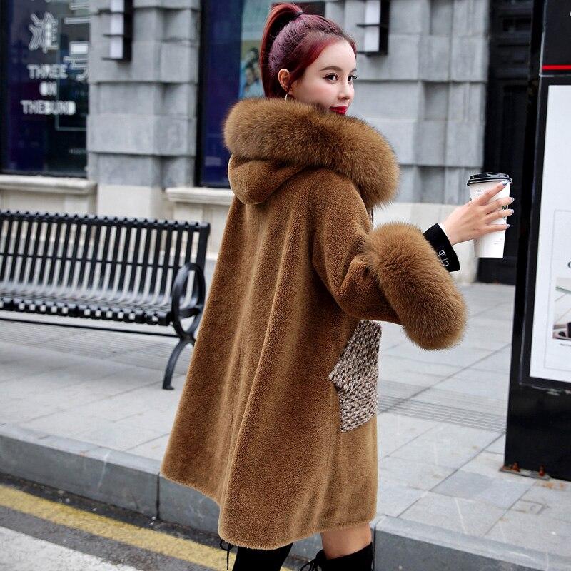 Long Solide À Col Nouvelles Brown 2018 D'hiver Fourrure Chaud Mince Lc335 Peau Laine Renard De Manteau Femmes Tondus Épais Capuchon Mode En Mouton BUBndHq