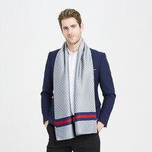 Fashion Winter Scarf For Men Plaid Print Twill Silk Scarfs B