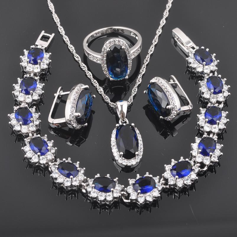 2019 Neue Ankunft Blau Zirkonia Schmuck 925 Sterling Silber Kristall Schmuck Sets Hochzeit Schmuckstück Geschenke Für Frauen Qs0167 Brautschmuck Sets