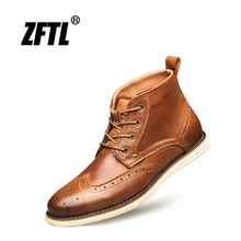 ZFTL New Men Bullock Boots Genuine Leather Man Martins Boots Casual Lace-up boots Big Size Male Handmade shoes High-top shoes 7 цена