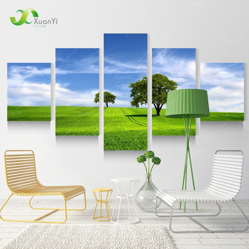 5 Panel Modern Nature Landscape Canvas Wall Art Oil Painting Modular Picture Home Decor HD