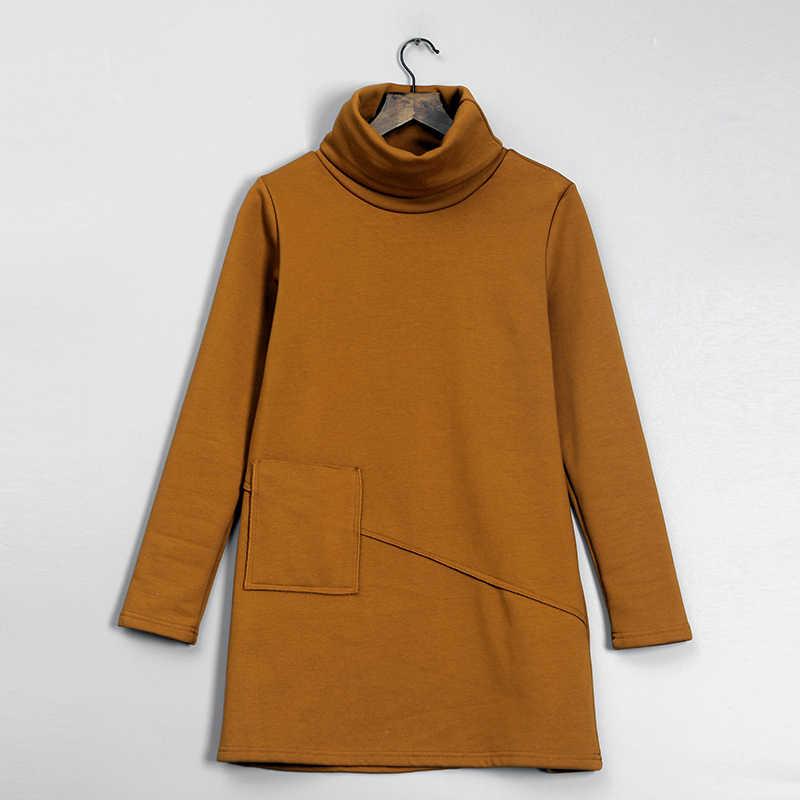Velours polaire robe hiver femmes à manches longues décontracté poche petit noir une ligne coton chaud velours col roulé tunique robe 11060