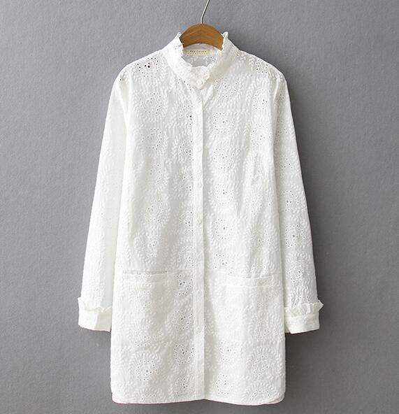 Spring white  sweet ruffled hollow out embroidery stand collar  shirt blouse  women