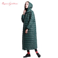 2018 brand super long down women winter jacket female outwear parkas with hooded warm regular coat plus size loose simple style