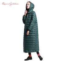 2019 brand super long down women winter jacket female outwear parkas with hooded warm regular coat plus size loose simple style