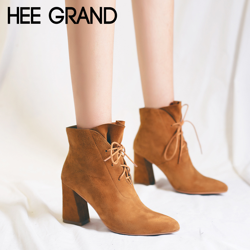 HEE GRAND Platform Winter Warm Women Ankle Boots Pointed Toe Shoes Women Lace Up Solid Faux Suede Ankle Boots Shoes XWX6760 цена