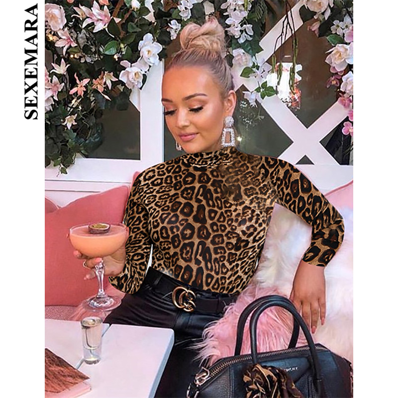 Atease Women Leopard Print Bodysuit Jumpsuit Turtleneck Long Sleeves Button Bodycon Playsuit Rompers Brown