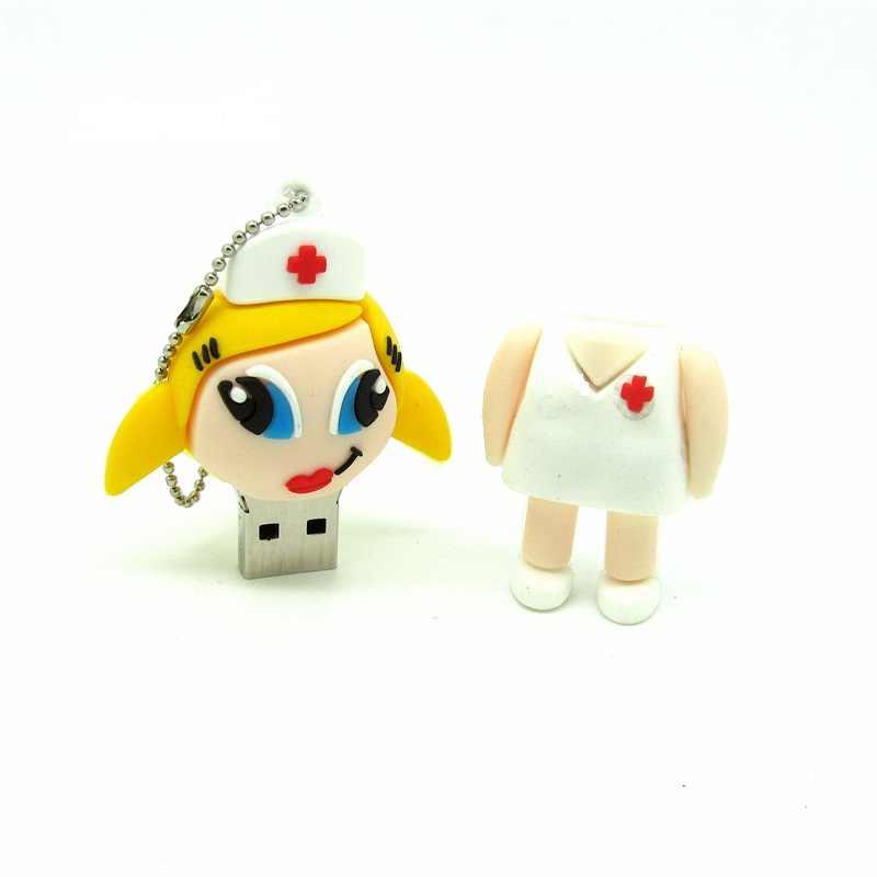 Desain Baru Perawat Seksi USB Flash Drive Silikon Putih Gadis Stik Memori Perangkat Penyimpanan Pena Drive 4G 8G 16G 32G U Disk