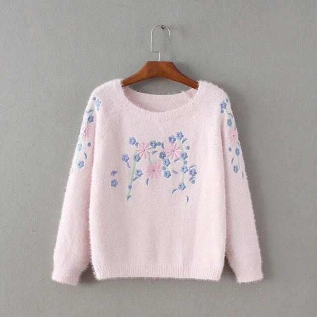 Западный стиль весна осень мода свободные вышивка цветы с длинным рукавом 3 цвета женщины Повседневная пуловеры Свитера трикотаж