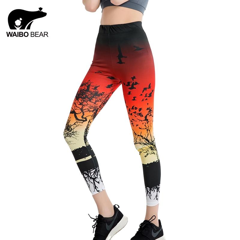 Women 2017 Casual Legins Nature Scenery 3D Digital Leggins Ombre Print Leggings Slim Fitness Workout Pencil Pants WAIBO BEAR