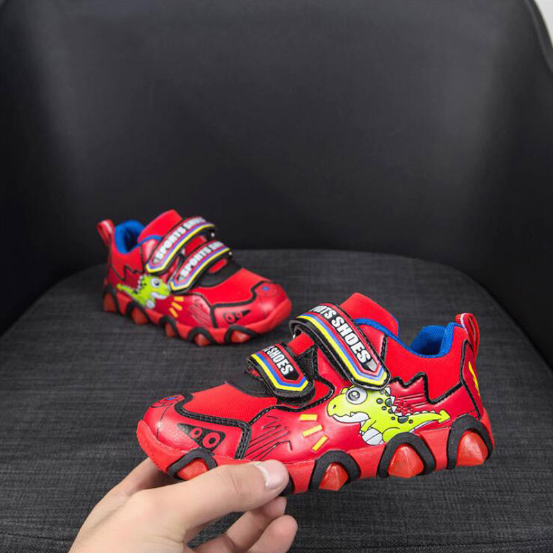 2019 Spring Autumn New Children Light Shoes Cartoon Dinosaur Flashing Light Sneakers Boys Sports Shoes Girls Casual Shoes