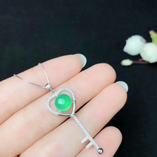 SHILOVEM 925 silver natural green chalcedony pendant  necklace classic wholesale Fine women gift bz080801agys