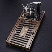 Чайный поднос из цельного дерева два в одном, автоматическая чайная плита с водой и электричества, чайный столик с выдвижным ящиком, дренажный чайный поднос кунг-фу