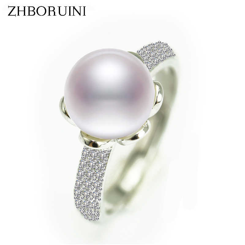 ZHBORUINI 2017 Fashion Pearl Ring Natural Freshwater Pearl Big Zircon Round Rings 925 Sterling Silver Jewelry For Women Gift