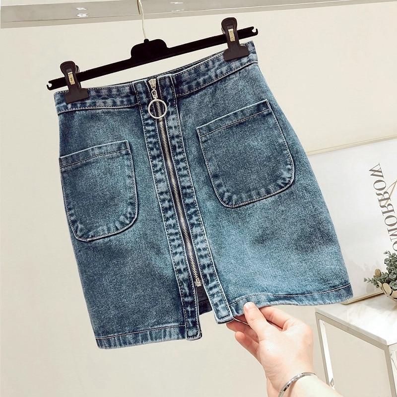 INS 2019 SUMMER Fashion Women High Waist Front Zip Denim Skirt Casual Zipper A-line Mini Skirts Pocket Wrapover Jeans Skirt