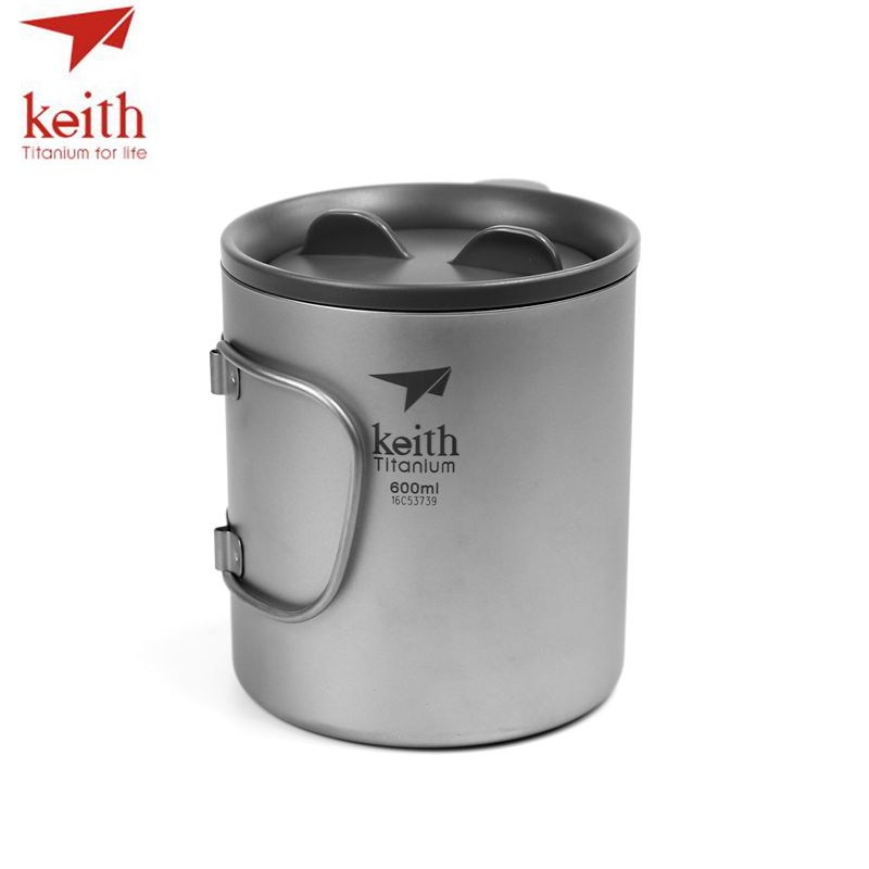 Keith Pure Titanium Double Wall Water Mugs With Folding Handles Drinkware Outdoor Camping Cups Ultralight Travel Mug 450ml 600ml keith ks813 double wall titanium water cup mug silver grey 220ml