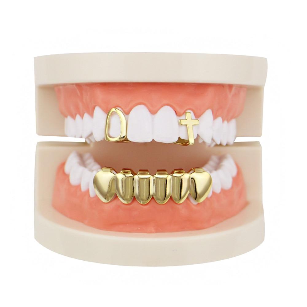 Preço inferior da fábrica ouro cor dentes grillz conjunto de design misto falso dente grillz hip-hop legal homem jóias do corpo eua rap boca bonés