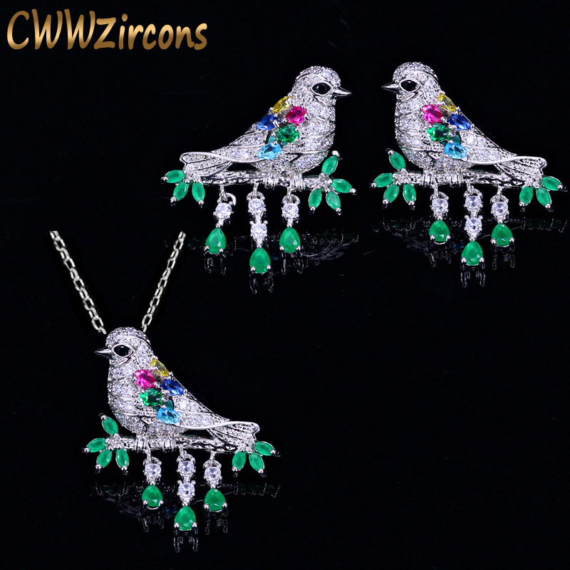 CWWZircons High Quality Water Drop Green CZ Crystal Necklace And Earrings Fashion Animal Bird Jewelry Set for Women Gift T217 a suit of charming faux crystal water drop necklace bracelet and earrings for women