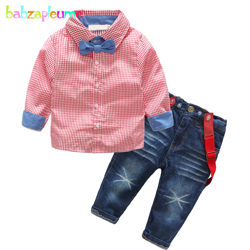 2PCS/2-7Years/Spring Autumn Korean Kids Clothes Baby Boys Suit Fashion Plaid T-shirt+Jeans Overalls Children Clothing Set BC1466 new spring autumn kids clothes sets children casual 3 pcs suit jackets pants t shirt baby set boys sport outwear 4 12 years
