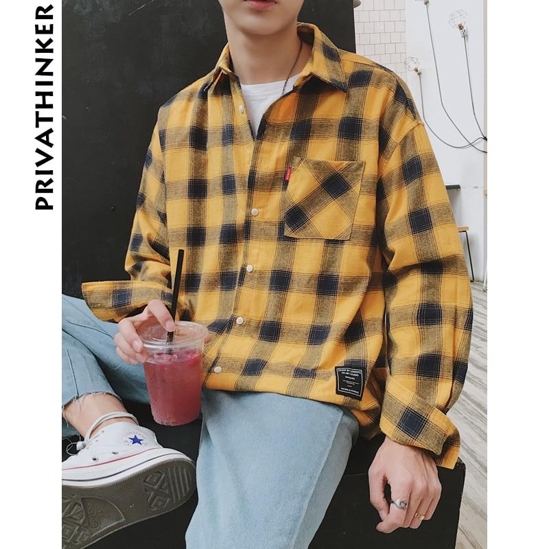 Privathinker 2020 New Long Sleeve Shirt Men Women Casual Shirt Korean Plaid Shirts Male Hawaiian Beach Fashion Shirt Harajuku