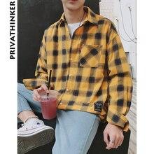 Мужская клетчатая рубашка Privathinker, Повседневная пляжная гавайская рубашка в Корейском стиле, с длинным рукавом, в стиле Харадзюку, 2020