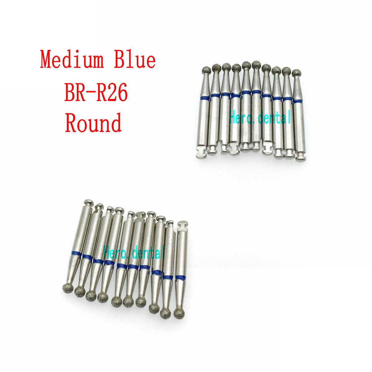 10Pcs Low Speed Dental Diamond Burs For RA 2.35mm Shank Handpiece Polisher Trimming Round Head Clinic Drill