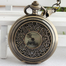 Train Big Dial Roman Numers Mechanical Skeleton Pocket Watch Steampunk Hand Winding Watch Men Women Chain Gift TJX072