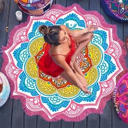 147*147CM Round Yoga Mat Towel Tapestry Tassel Decor With Flowers Pattern Circular Tablecloth Beach Picnic Mat