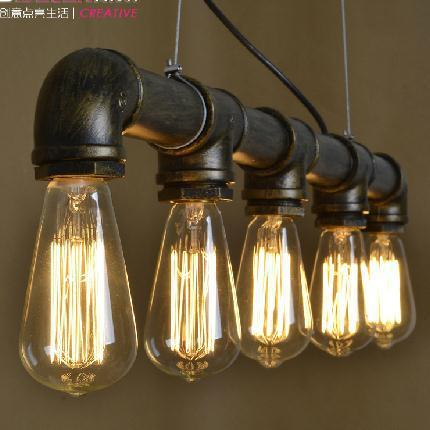 Grade A Retro Nostalgia Industrial Water Pipe Pendant Lights Fixture Vintage Waterpipe Droplights Cafes Pub Dining Room Lamps
