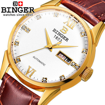 Military Watch Relogio Masculino Men Top Brand Binger Genuine Leather Strap Mans Watches Chronograph 3 Hands Auto Function Watch