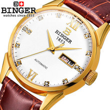 Military Watch Relogio Masculino Men Top Brand Binger Genuine Leather Strap Mans Watches Chronograph 3 Hands