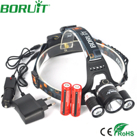 6000 Lumen T6 Boruit Head Light Headlamp Outdoor Light 3T6 Head Lamp HeadLight Rechargeable 2x 18650