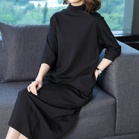 2018 new spring and autumn office lady Elasticity loose solid empire female women girls dress clothes 79234
