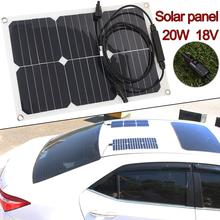 Cewaal Solar Panel Solar Cells Photovoltaic Panels Portable 20W 18V 1.1A Monocrystalline Silicon Battery Charger for car