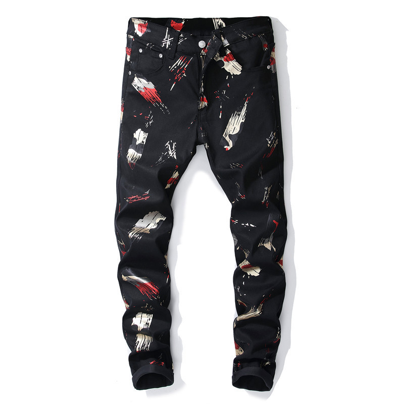 MORUANCLE New Fashion Mens Printed Jeans Pants Streetwear 3D Painted Denim Trousers Stretch Black Floral Joggers Size 29-38