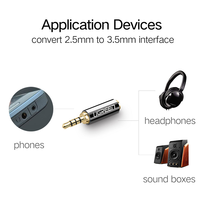 Ugreen Jack 3 5 mm to 2 5 mm Audio Adapter 2 5mm Male to 3 Ugreen Jack 3.5 mm to 2.5 mm Audio Adapter 2.5mm Male to 3.5mm Female Plug Connector for Aux Speaker Cable Headphone Jack 3.5
