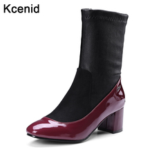 Kcenid Plus size 33-48 new fashion square toe red wine socks boots women side zipper ankle boots chunky heel autumn winter shoes