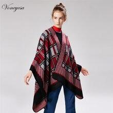 a50ca634fb40 Voneyesa 2018 Nouvelles Femmes Écharpe D hiver Tricoté Chaud Pashmina Châle  Dames Vintage Plaid Couverture knit Wrap Cachemire P..