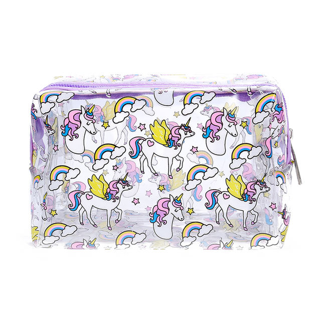 PVC cartoon panda transparent makeup for women cute unicorn clear organizer pouch  girls travel case waterproof cb2c2263f4d5