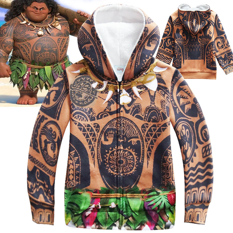 Kid Mauit Jacket Moana Cosplay Costumes Maui Tattoo Pattern Winter Thick Coat Daily Cardigan Mutlty-Color Hoodies Halloween Cos