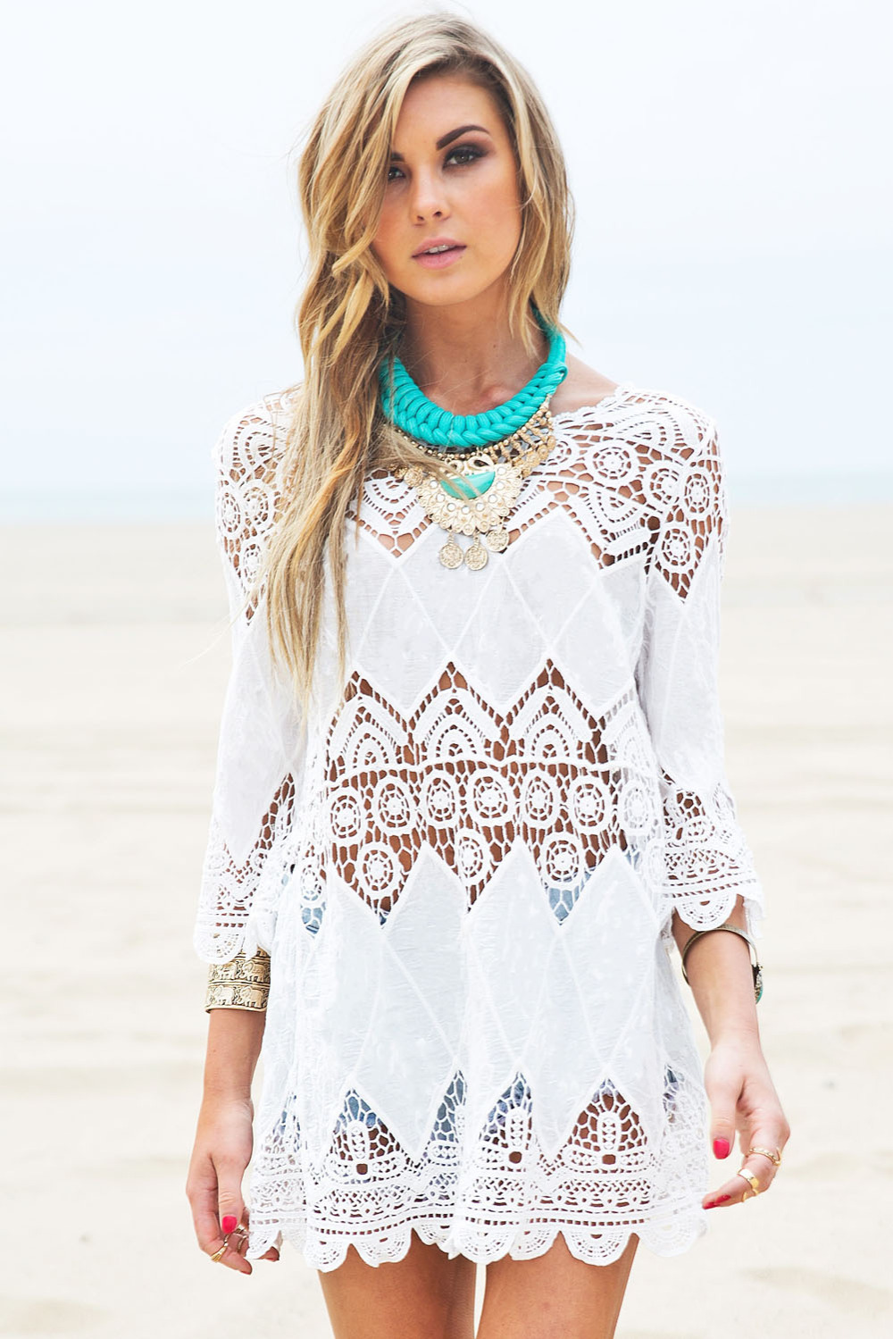 83feb8f8ea 2015 New Fashion Cotton Lace Hollow Crochet Sexy Swimwear Bikini Beach  Cover Up Women, White Beach Tunic Shirt Dress, In Stock