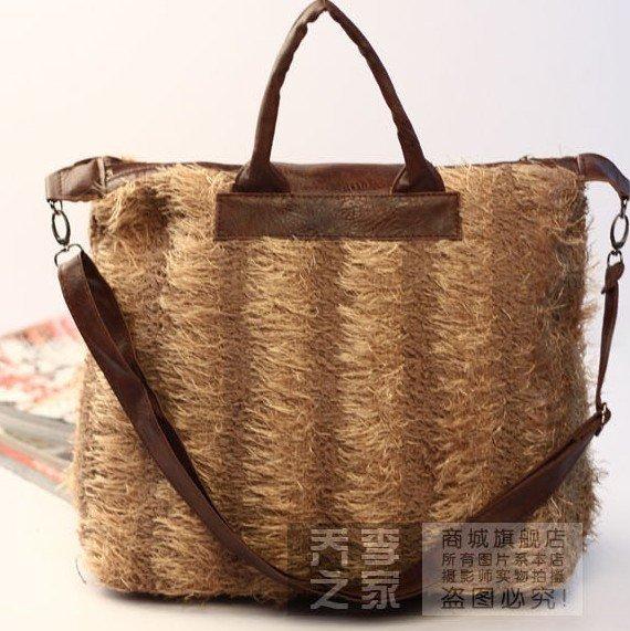 Plush leather bag grass bales Jiankua single clamp handbags K1031