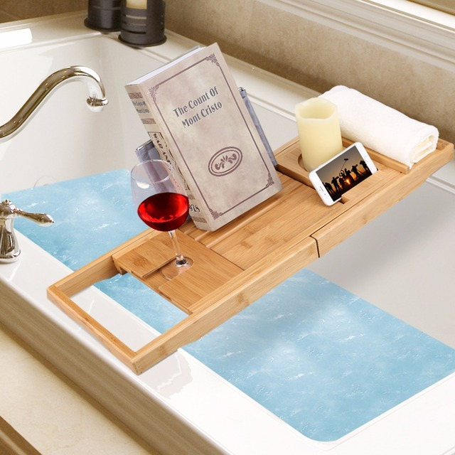 Multifunctional LANGRIA Bamboo Bathroom Shelves Bathtub Caddy Over ...