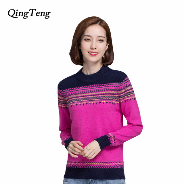 5a3fb8e89c97 QingTeng 2017 Pure Cashmere Sweater Women Winter Casual Long Sleeve ...