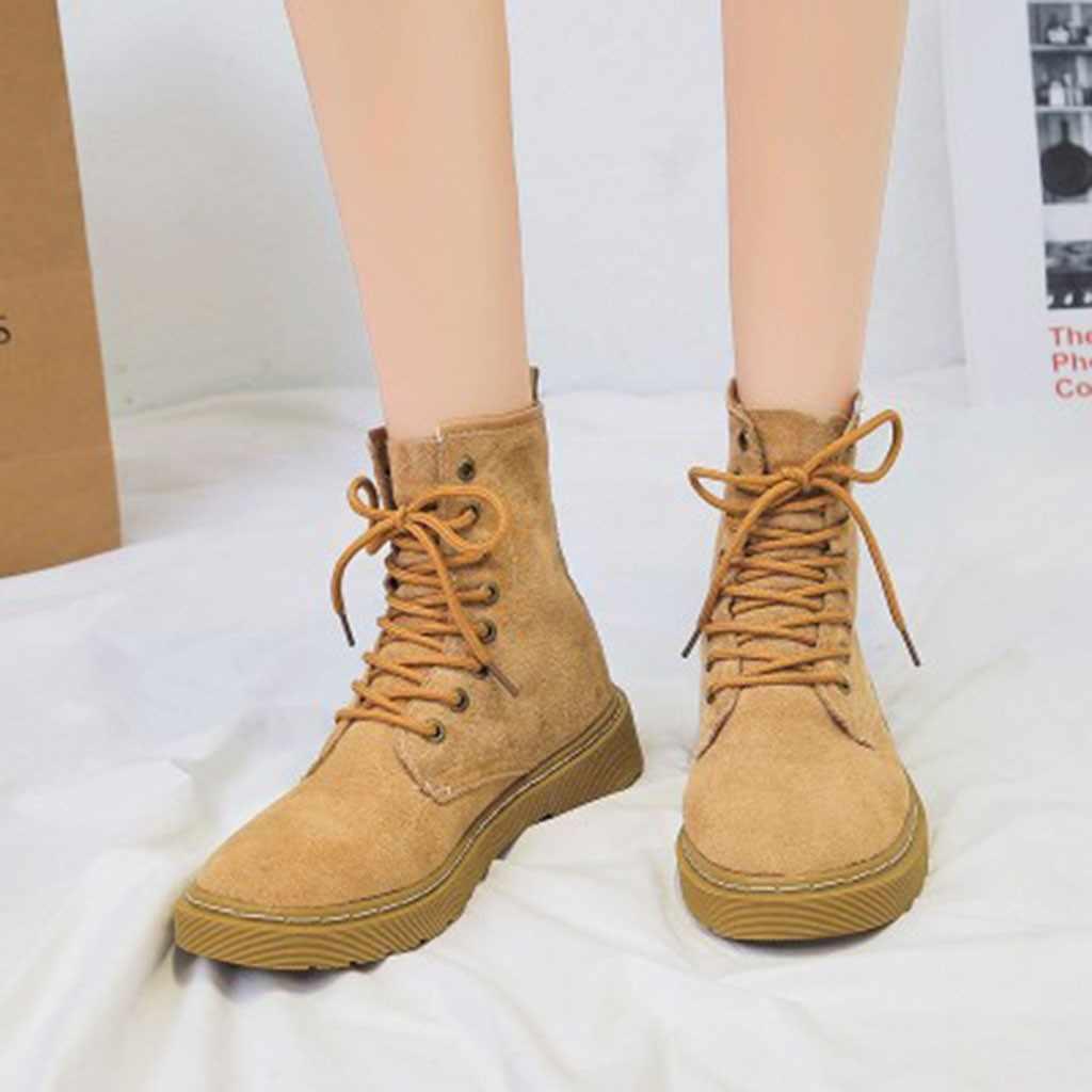 ฤดูใบไม้ร่วงฤดูหนาวรองเท้าผู้หญิง 2019 แฟชั่น Lace Up Marten เย็บ Boot ฤดูหนาวรองเท้านุ่มรองเท้า Botas Mujer