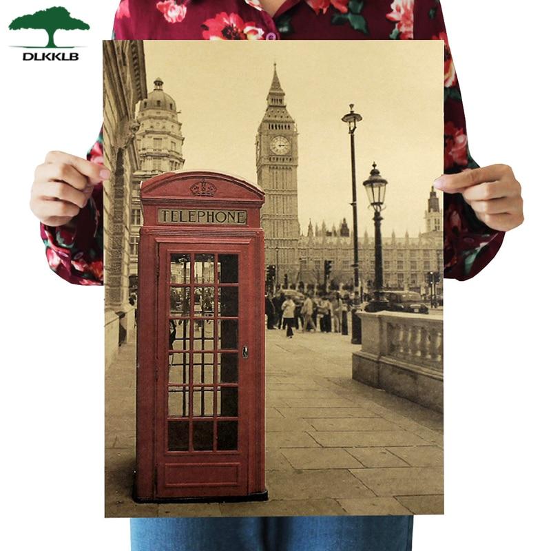Dlkklb London Red Telephone Booth Kraft Paper Poster Livingroom Bedroom Home Decor Retro Landscape Wall Sticker 51.5x36 Cm