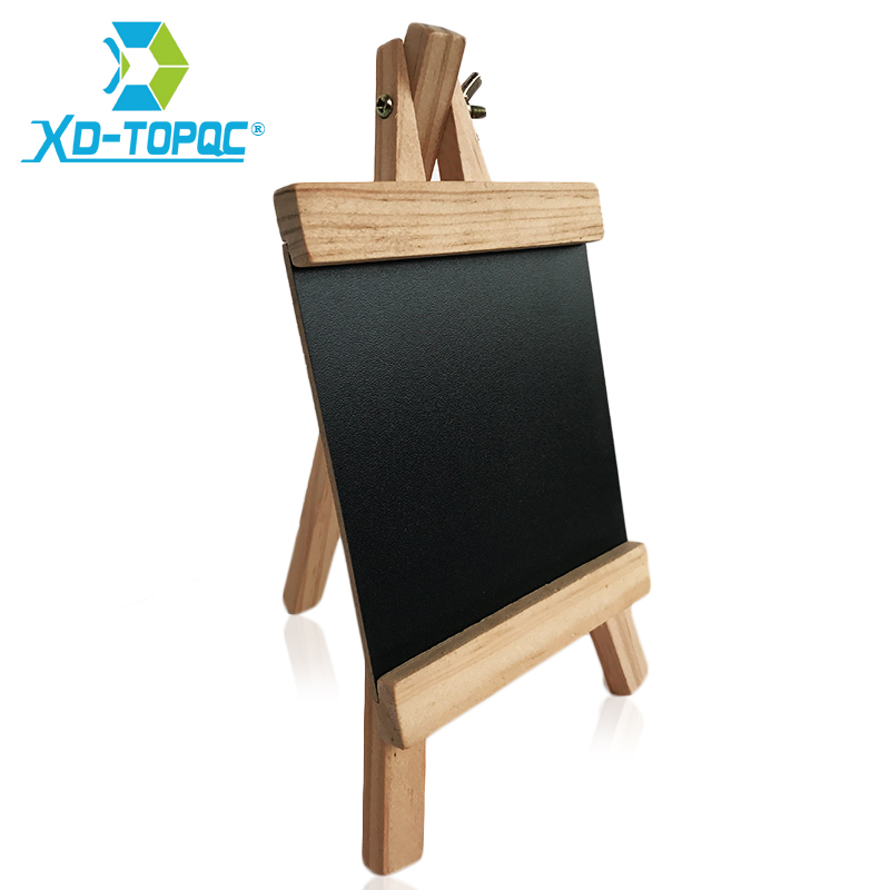 XINDI 12*23cm Mini Desktop Blackboard Pine Wood Easel Chalkboard Kid Wood Black Board Collapsible Writing Boards Free Chalk BB70