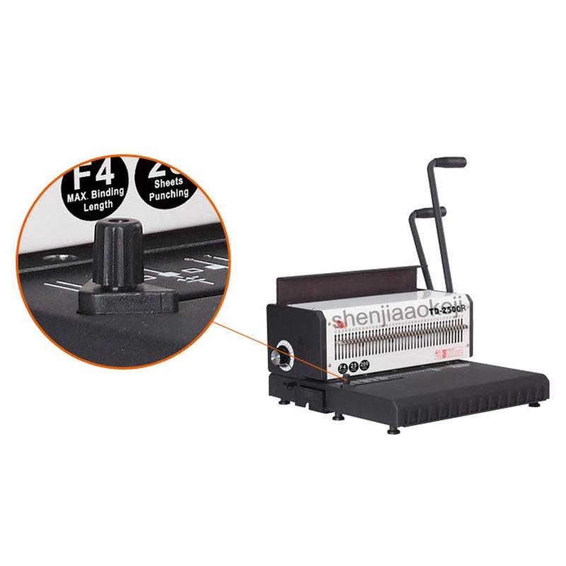 A4 Machine à relier fil de papier TD 2500R (rond) machine à relier anneau de fer calendrier de bureau machine à poinçonner manuelle 300 feuilles reliure - 5