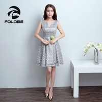 FOLOBE Vintage Grey Lace V Neck Sexy Backless Flowers Tulle Sleeveless Women Girl Dress Formal Dresses